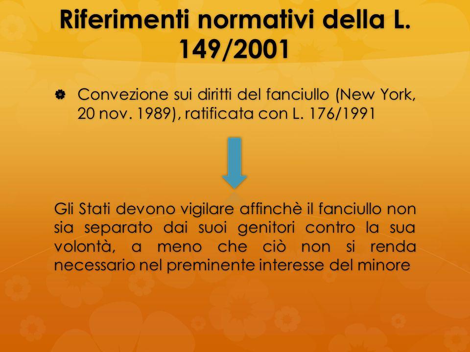 Riferimenti normativi della L. 149/2001