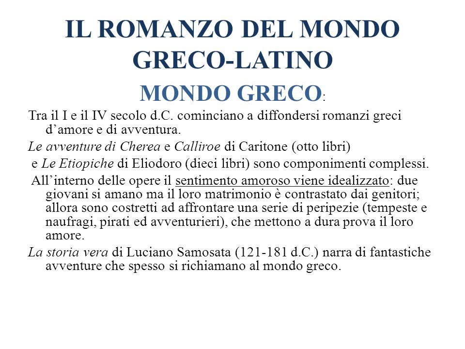 IL ROMANZO DEL MONDO GRECO-LATINO