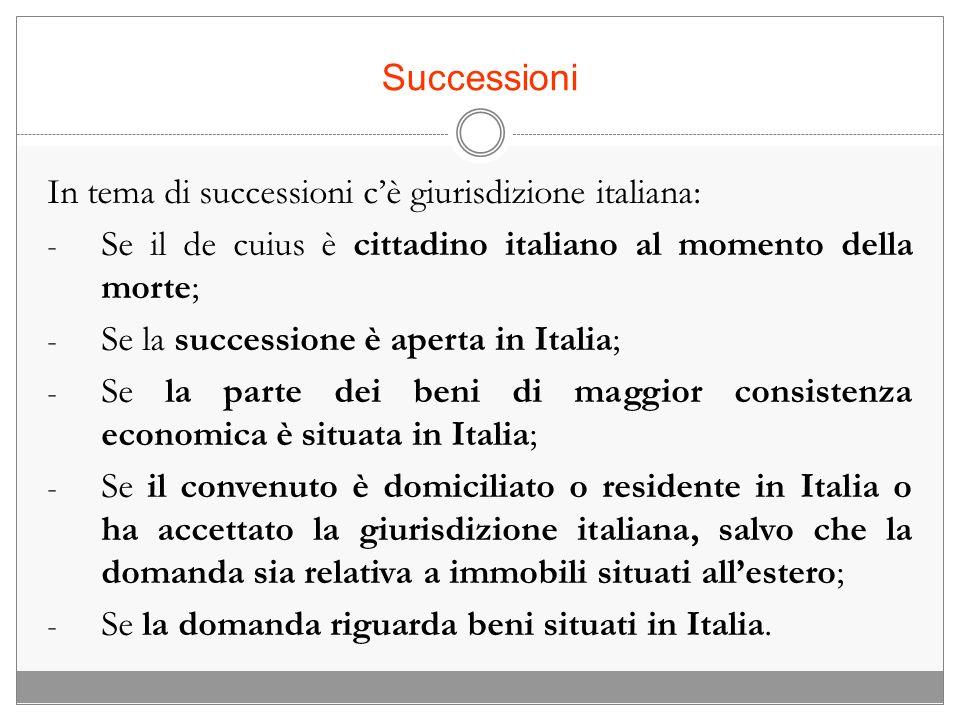 Successioni In tema di successioni c'è giurisdizione italiana: