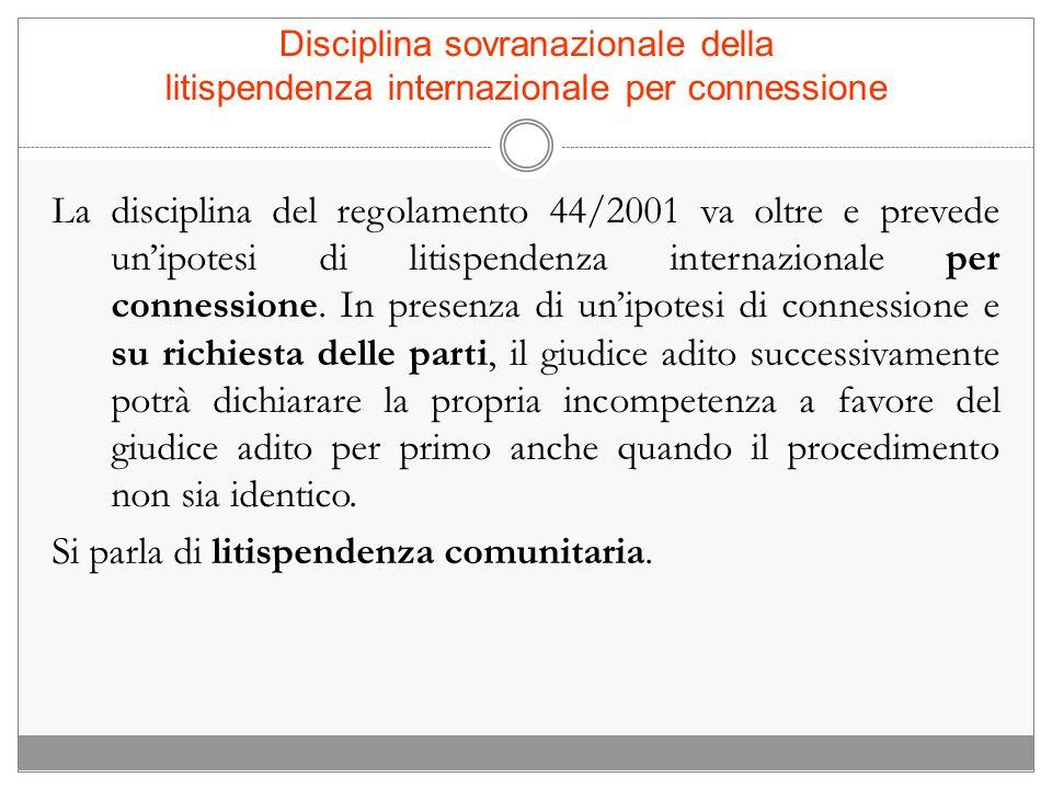 Disciplina sovranazionale della litispendenza internazionale per connessione