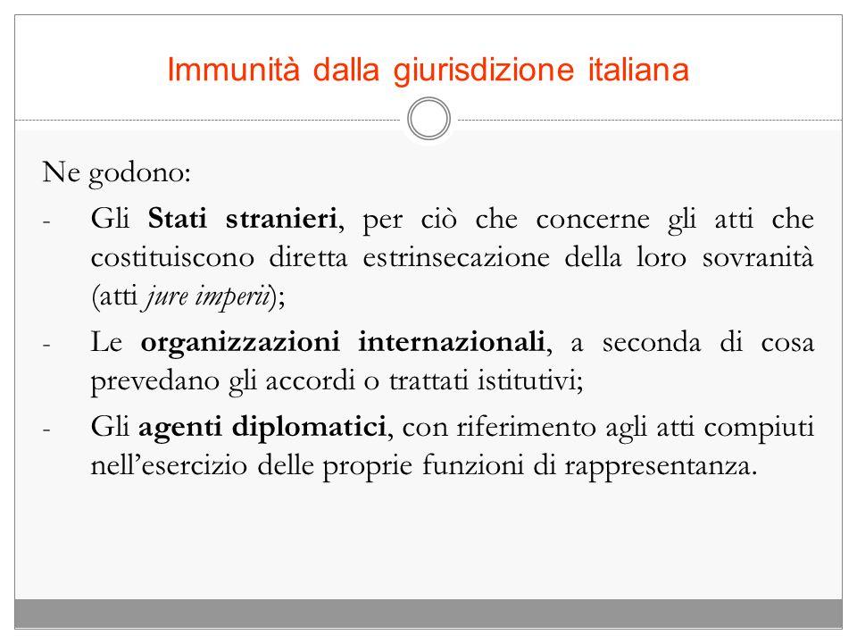 Immunità dalla giurisdizione italiana