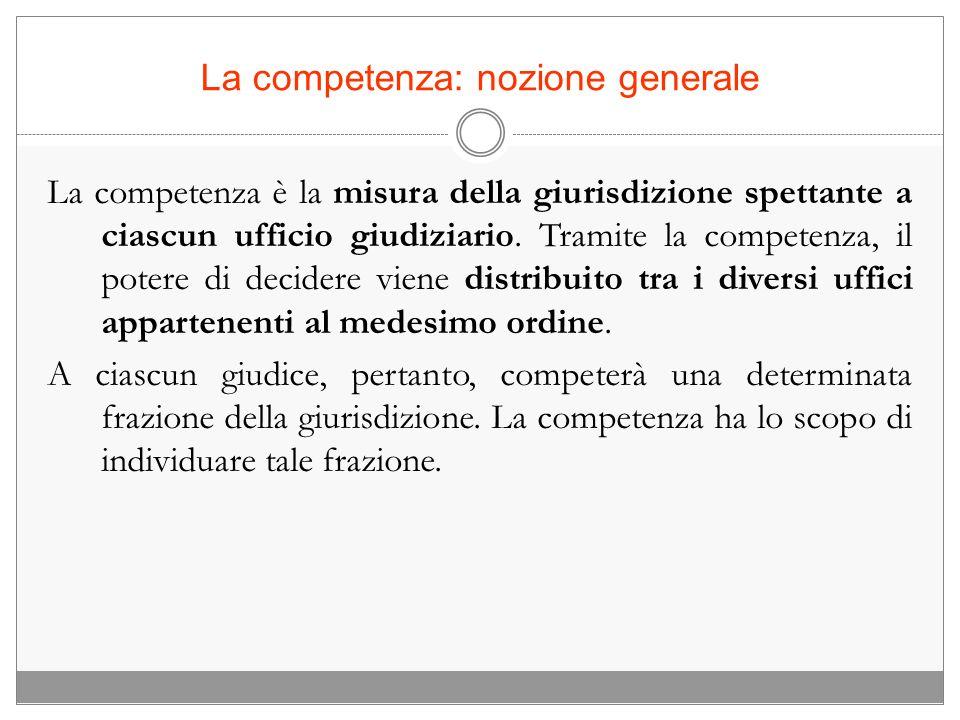 La competenza: nozione generale