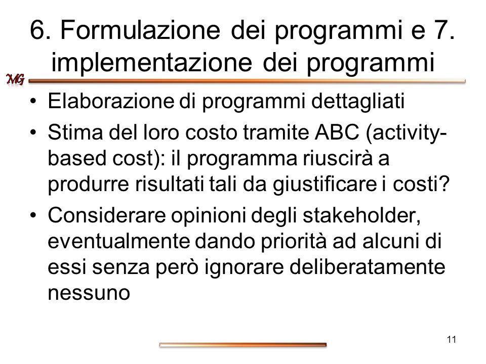6. Formulazione dei programmi e 7. implementazione dei programmi