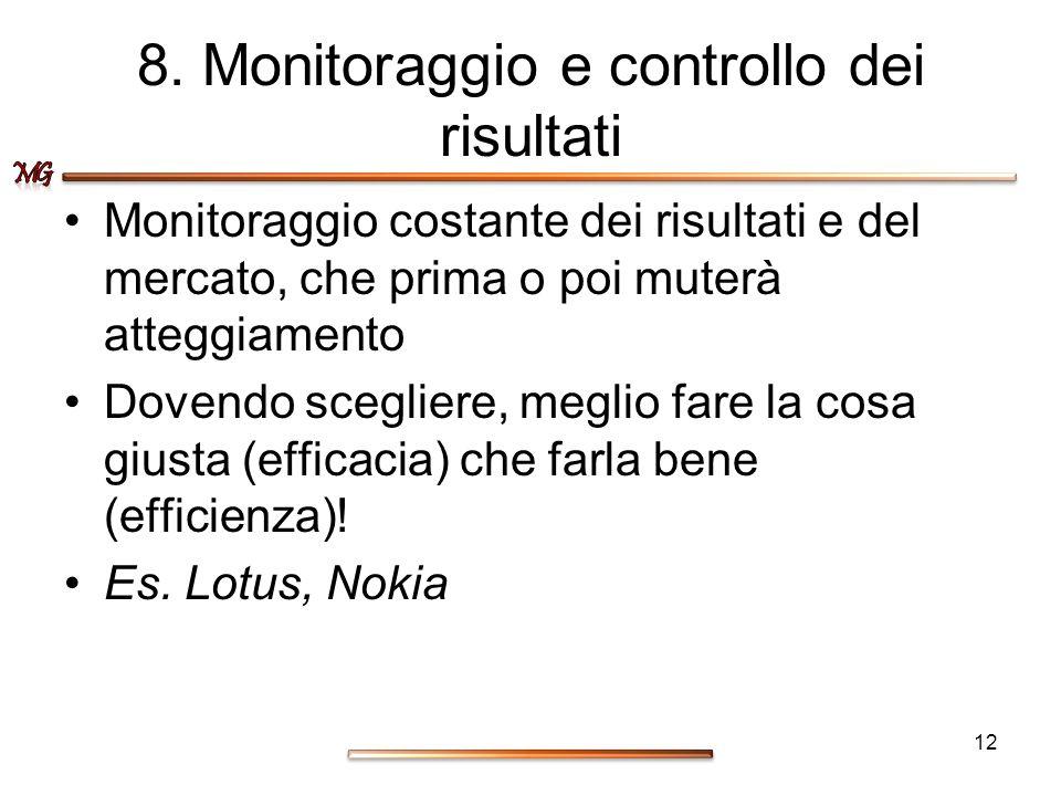8. Monitoraggio e controllo dei risultati