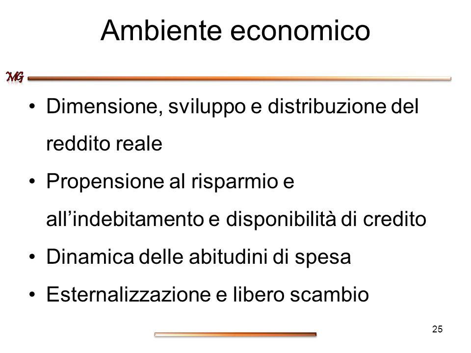 Ambiente economico Dimensione, sviluppo e distribuzione del reddito reale. Propensione al risparmio e all'indebitamento e disponibilità di credito.