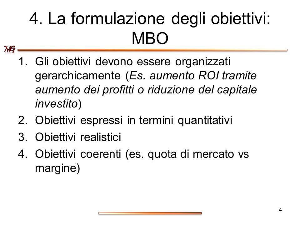 4. La formulazione degli obiettivi: MBO