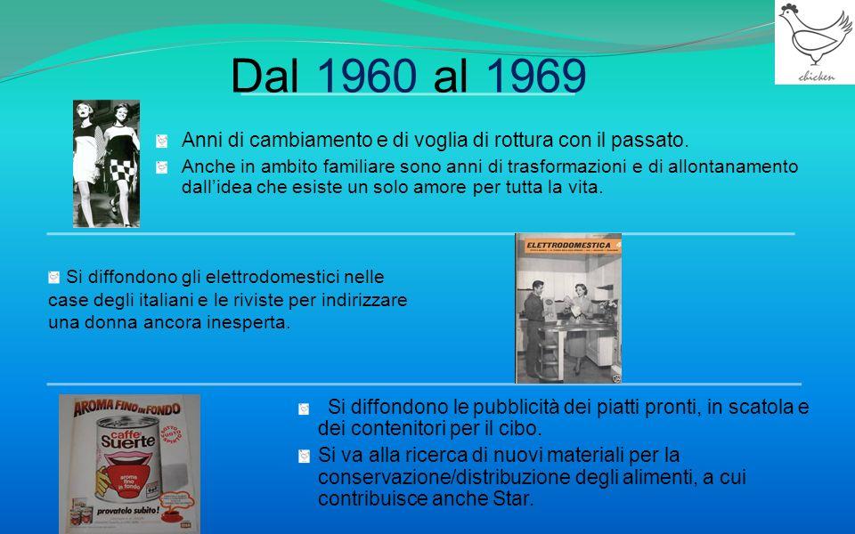 Dal 1960 al 1969 Anni di cambiamento e di voglia di rottura con il passato.