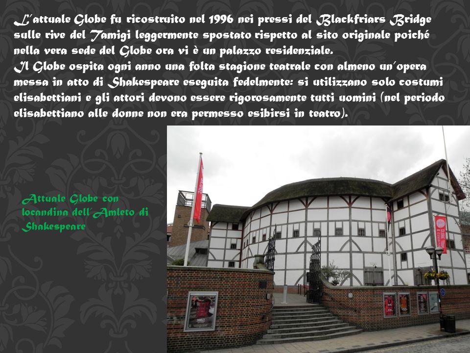 L'attuale Globe fu ricostruito nel 1996 nei pressi del Blackfriars Bridge sulle rive del Tamigi leggermente spostato rispetto al sito originale poiché nella vera sede del Globe ora vi è un palazzo residenziale.