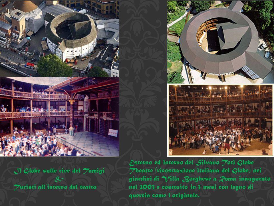 Esterno ed interno del Silvano Toti Globe Theatre (ricostruzione italiana del Globe) nei giardini di Villa Borghese a Roma inaugurato nel 2003 e costruito in 3 mesi con legno di quercia come l'originale.