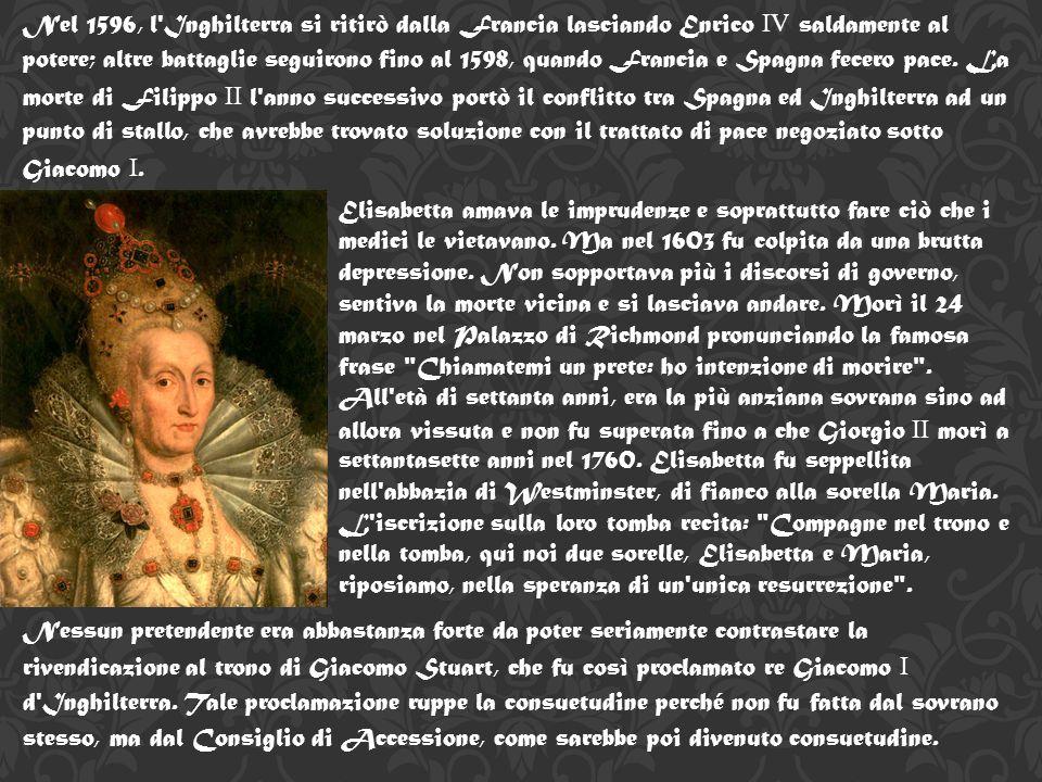 Nel 1596, l Inghilterra si ritirò dalla Francia lasciando Enrico IV saldamente al potere; altre battaglie seguirono fino al 1598, quando Francia e Spagna fecero pace. La morte di Filippo II l anno successivo portò il conflitto tra Spagna ed Inghilterra ad un punto di stallo, che avrebbe trovato soluzione con il trattato di pace negoziato sotto Giacomo I.