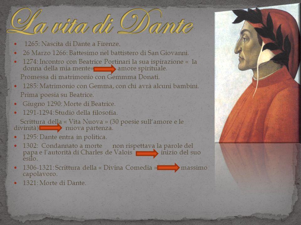 La vita di Dante 1265: Nascita di Dante a Firenze.