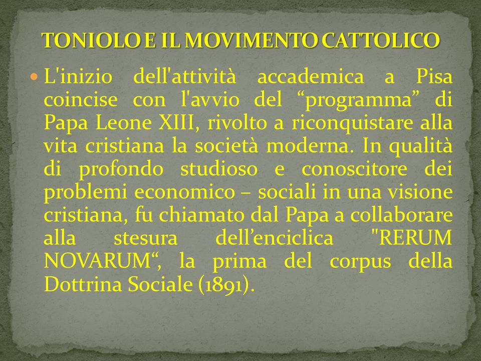 TONIOLO E IL MOVIMENTO CATTOLICO