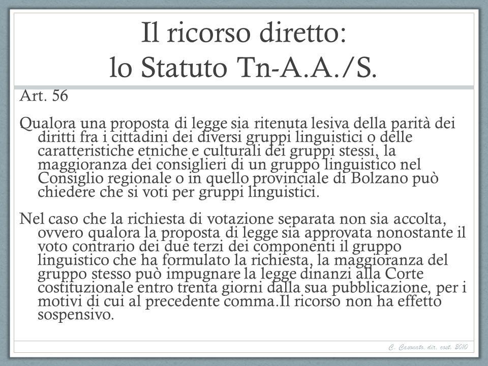 Il ricorso diretto: lo Statuto Tn-A.A./S.