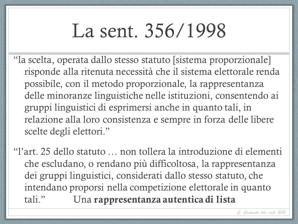 La sent. 356/1998