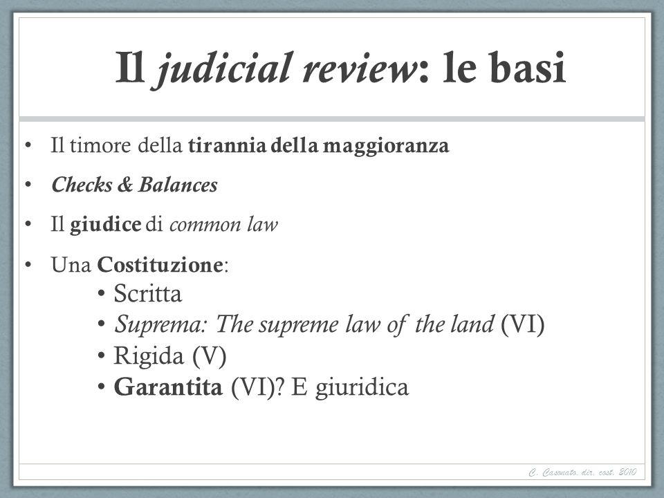 Il judicial review: le basi