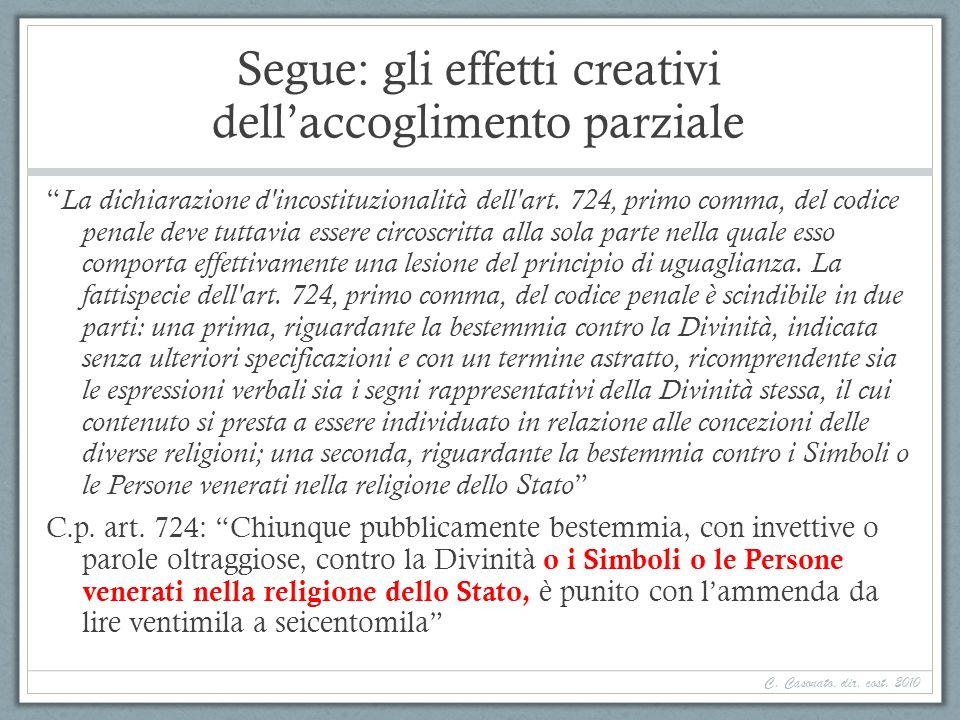 Segue: gli effetti creativi dell'accoglimento parziale