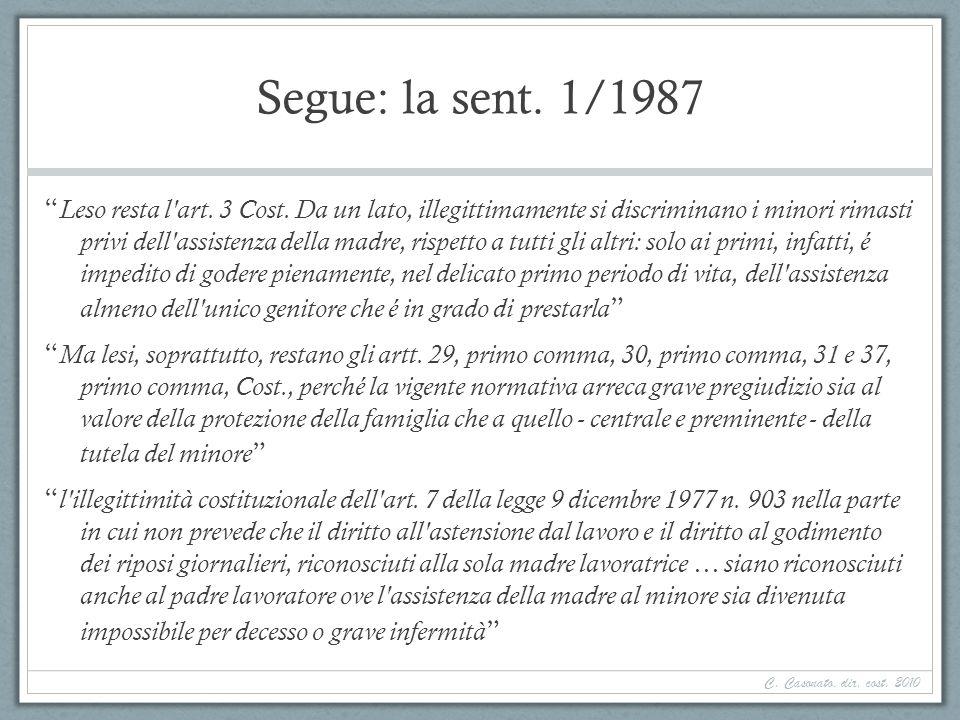 Segue: la sent. 1/1987