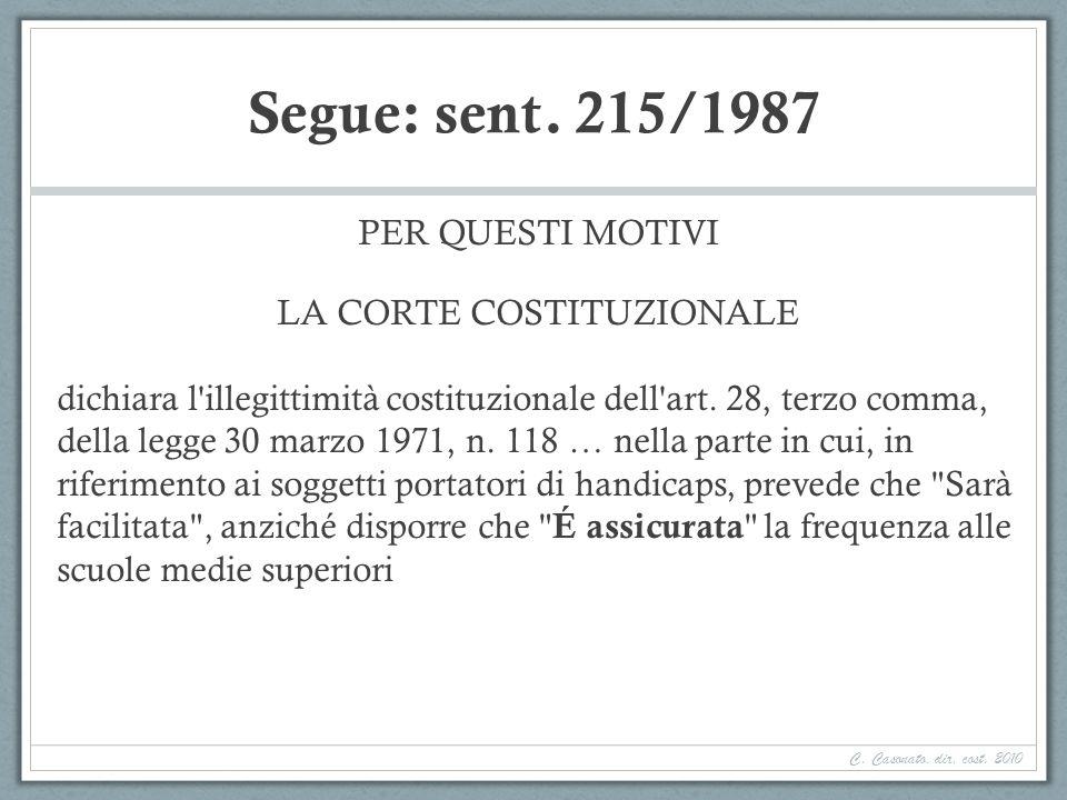 Segue: sent. 215/1987