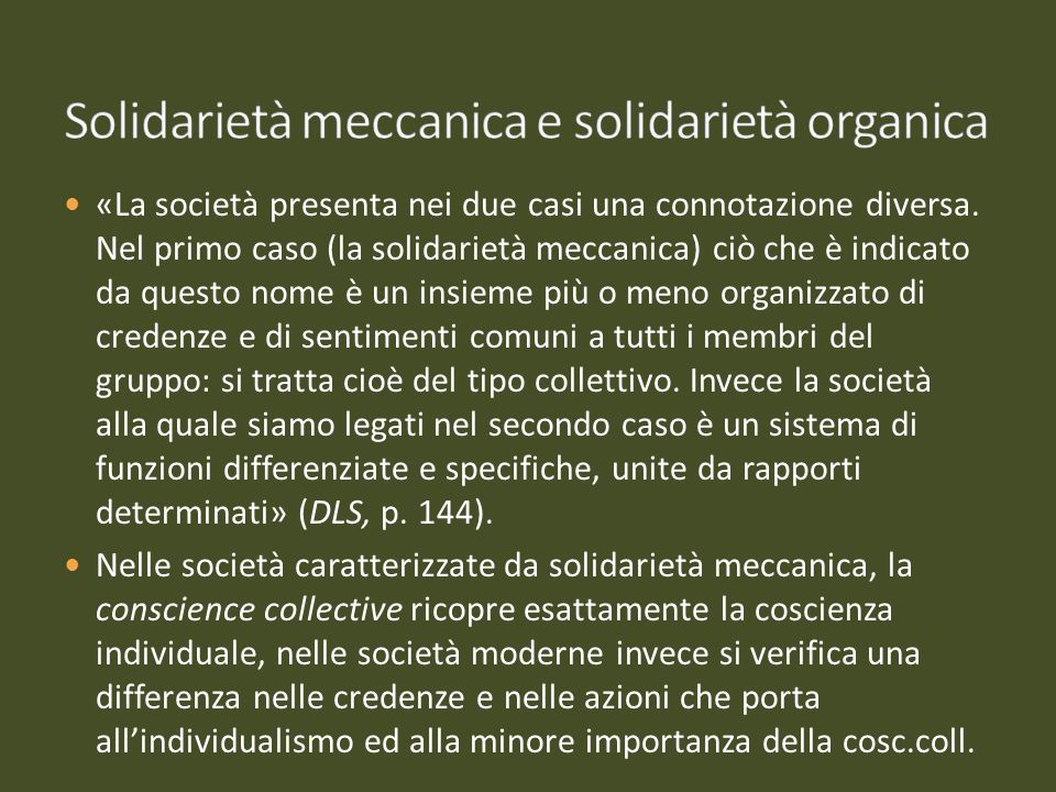 Solidarietà meccanica e solidarietà organica
