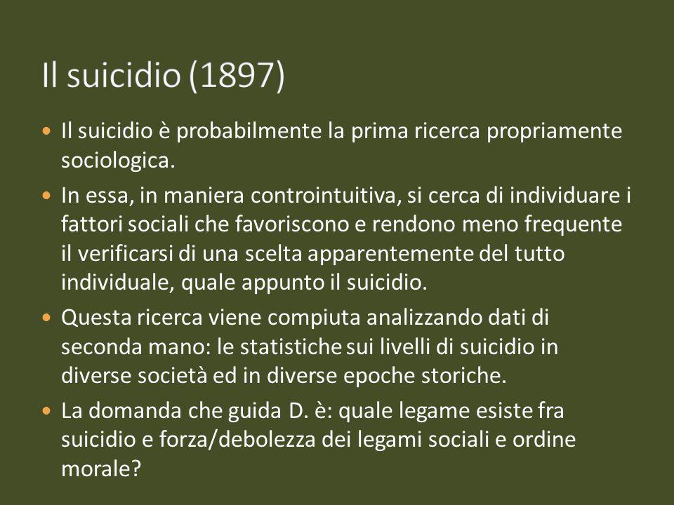 Il suicidio (1897) Il suicidio è probabilmente la prima ricerca propriamente sociologica.