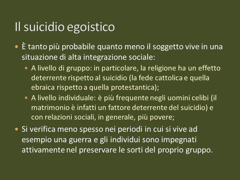 Il suicidio egoisticoÈ tanto più probabile quanto meno il soggetto vive in una situazione di alta integrazione sociale: