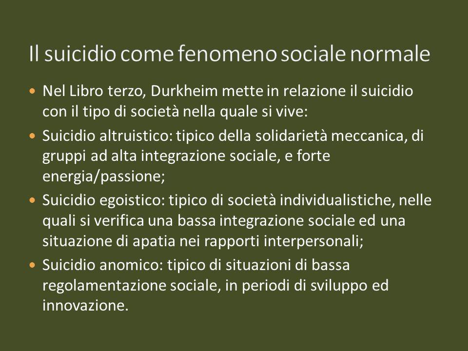 Il suicidio come fenomeno sociale normale