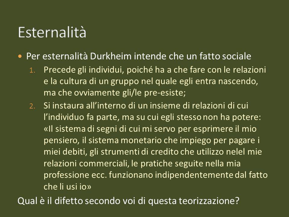 Esternalità Per esternalità Durkheim intende che un fatto sociale