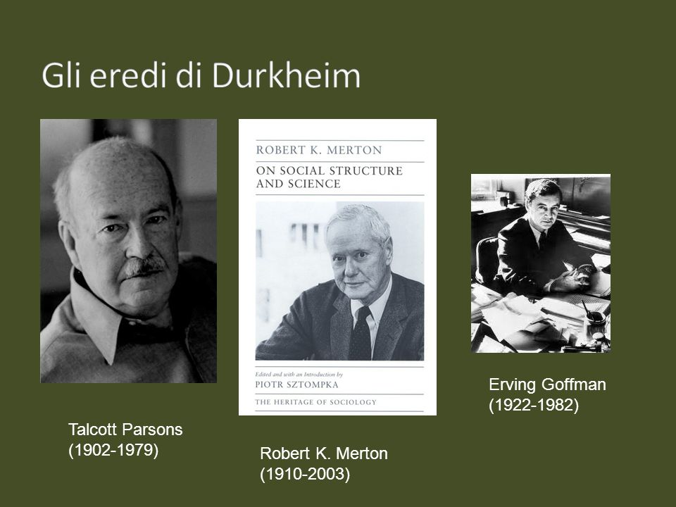Gli eredi di Durkheim Erving Goffman (1922-1982) Talcott Parsons