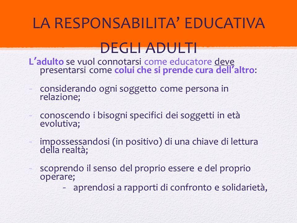 LA RESPONSABILITA' EDUCATIVA DEGLI ADULTI