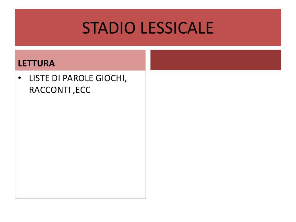STADIO LESSICALE LETTURA LISTE DI PAROLE GIOCHI, RACCONTI ,ECC