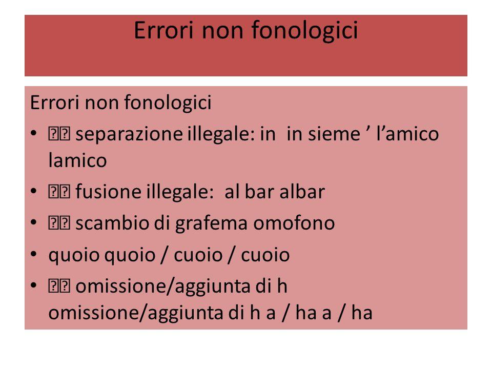 Errori non fonologici Errori non fonologici