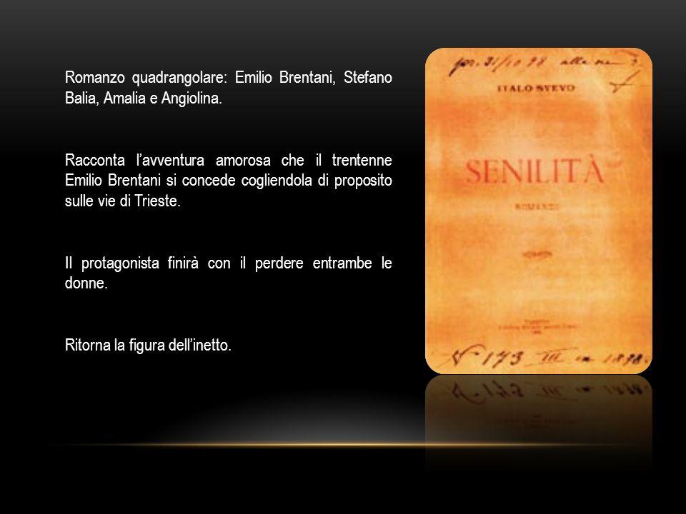 Romanzo quadrangolare: Emilio Brentani, Stefano Balia, Amalia e Angiolina.