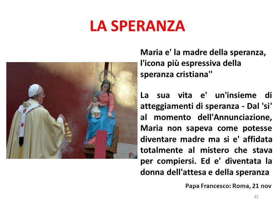 LA SPERANZA Maria e la madre della speranza, l icona più espressiva della speranza cristiana