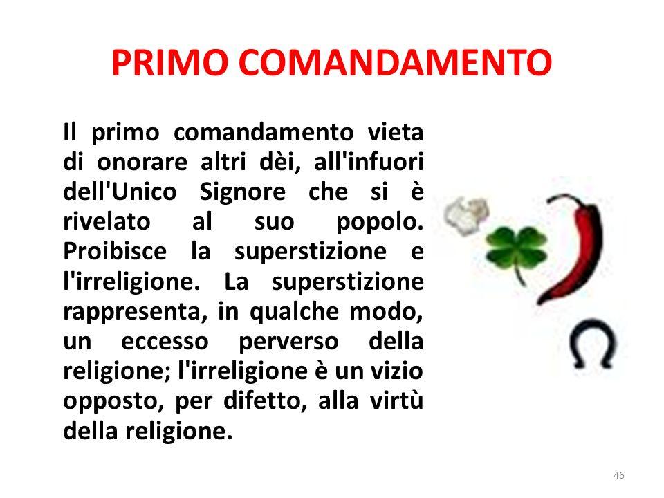 PRIMO COMANDAMENTO