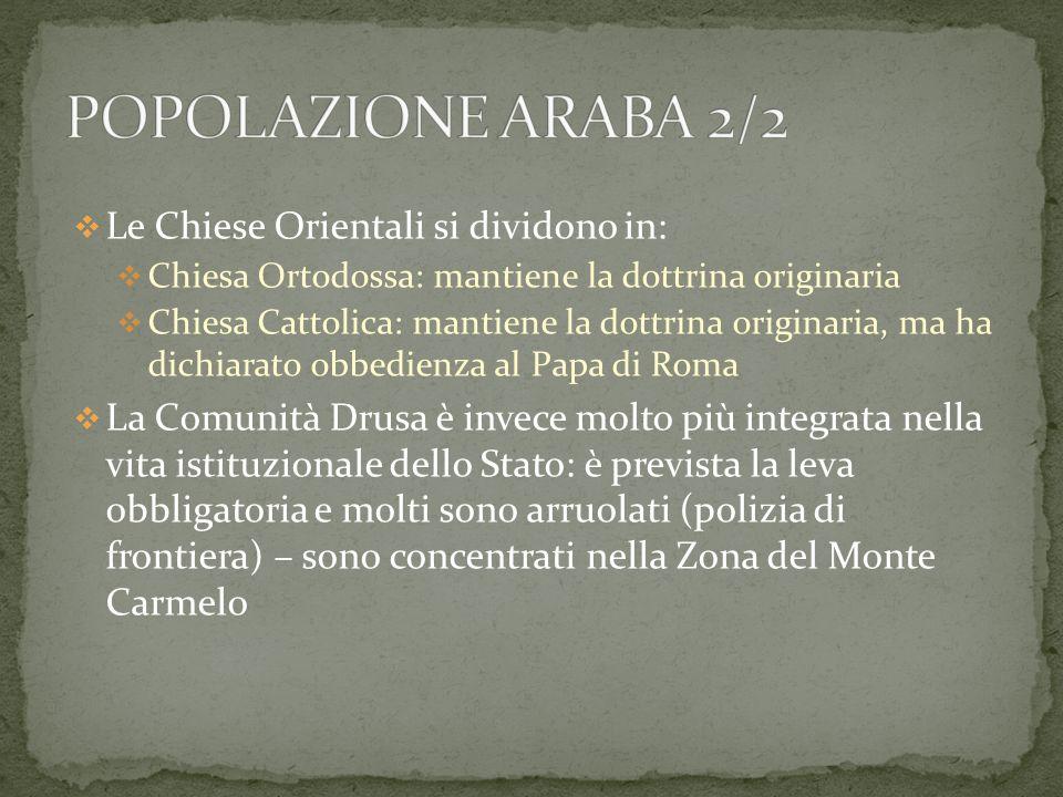 POPOLAZIONE ARABA 2/2 Le Chiese Orientali si dividono in:
