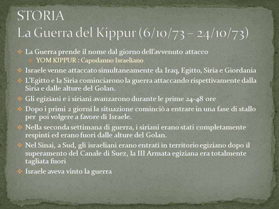 STORIA La Guerra del Kippur (6/10/73 – 24/10/73)