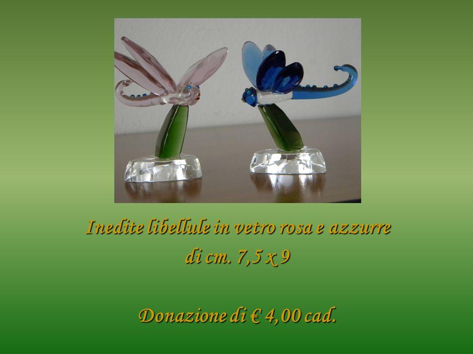 Inedite libellule in vetro rosa e azzurre