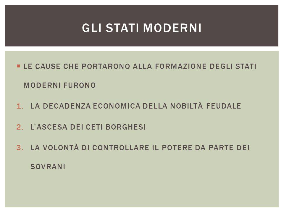 GLI STATI MODERNI LE CAUSE CHE PORTARONO ALLA FORMAZIONE DEGLI STATI MODERNI FURONO. LA DECADENZA ECONOMICA DELLA NOBILTÀ FEUDALE.