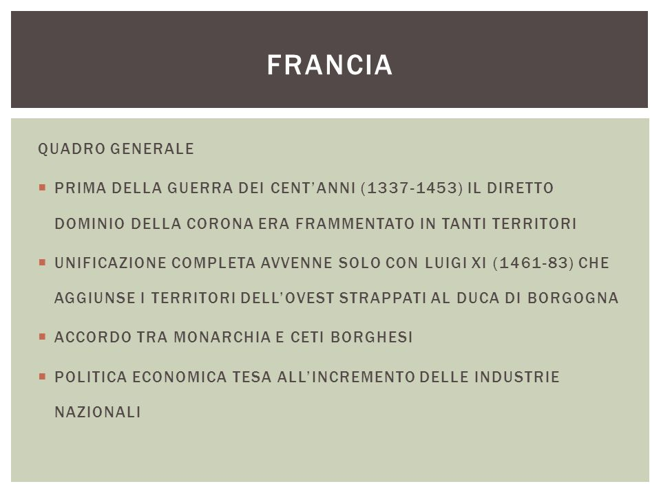 FRANCIA QUADRO GENERALE