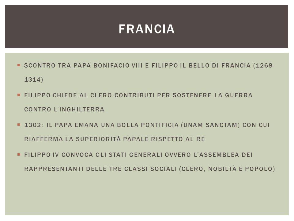 FRANCIA SCONTRO TRA PAPA BONIFACIO VIII E FILIPPO IL BELLO DI FRANCIA (1268-1314)