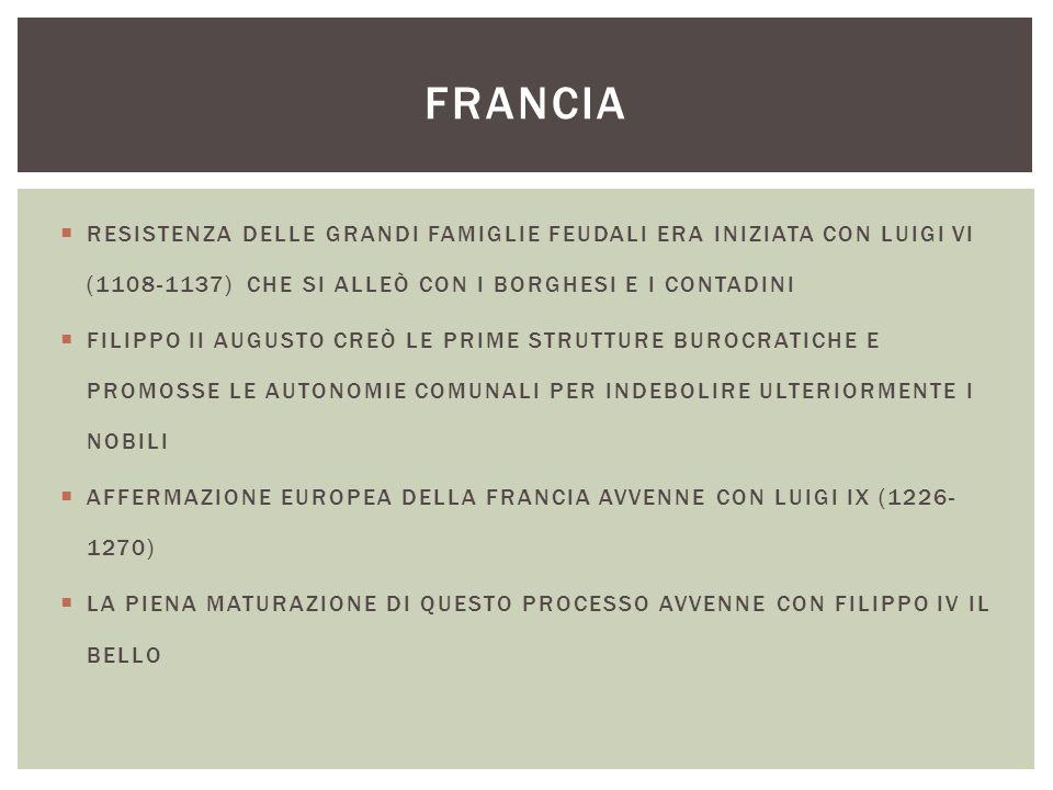 FRANCIA RESISTENZA DELLE GRANDI FAMIGLIE FEUDALI ERA INIZIATA CON LUIGI VI (1108-1137) CHE SI ALLEÒ CON I BORGHESI E I CONTADINI.