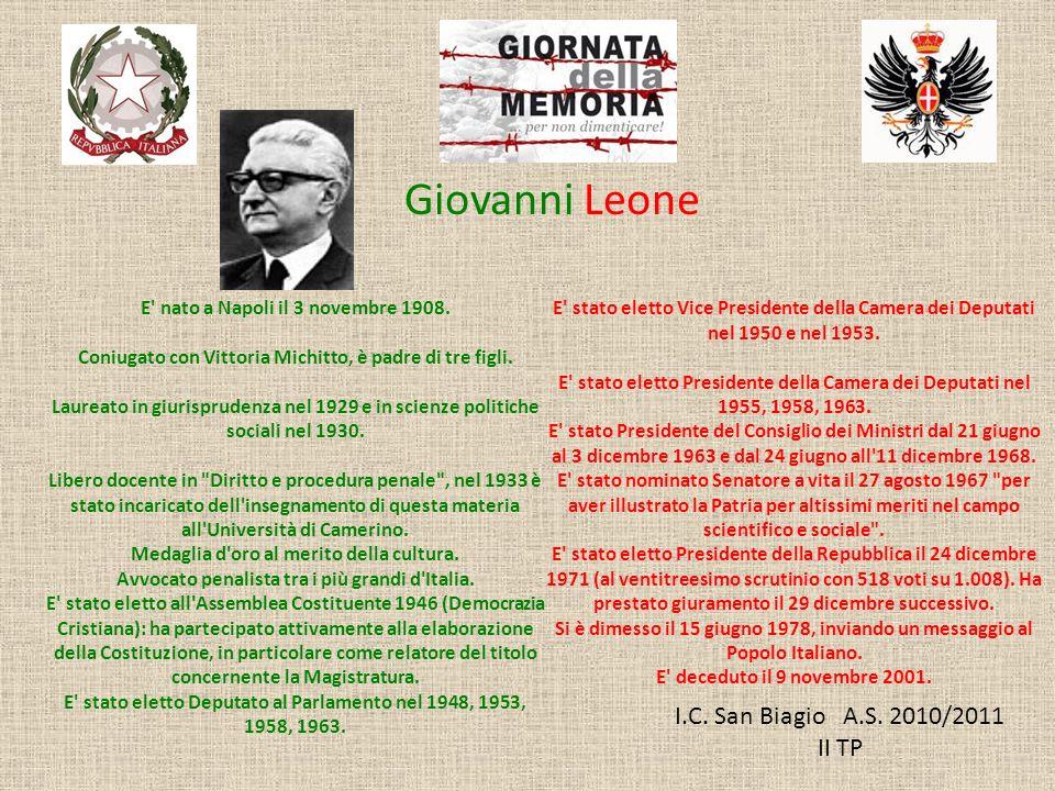 Giovanni Leone I.C. San Biagio A.S. 2010/2011 II TP