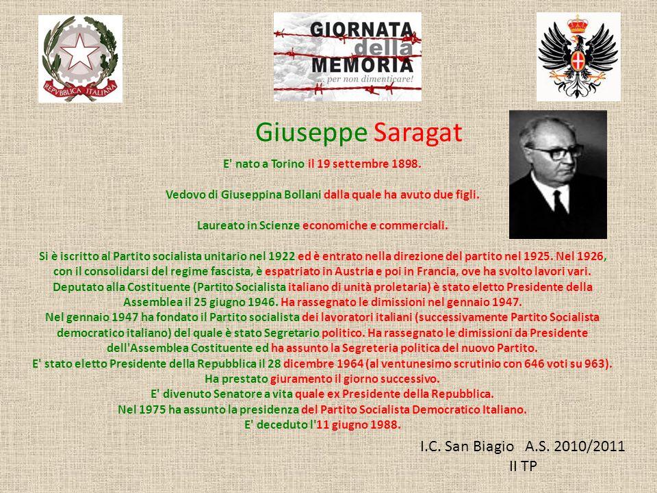 Giuseppe Saragat I.C. San Biagio A.S. 2010/2011 II TP
