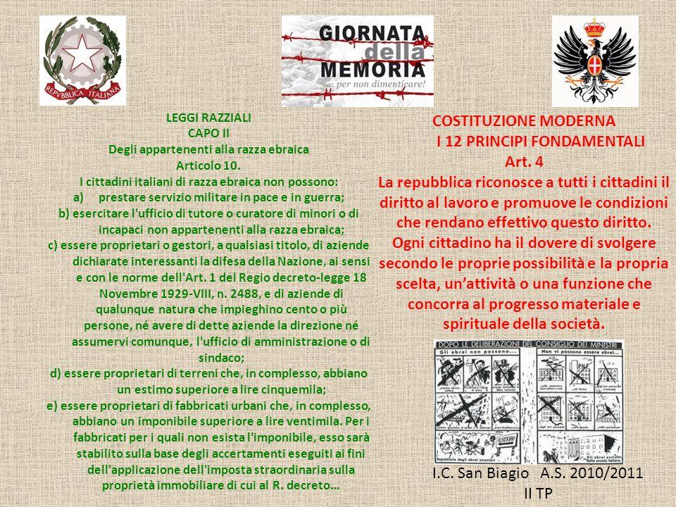 I 12 PRINCIPI FONDAMENTALI Art. 4