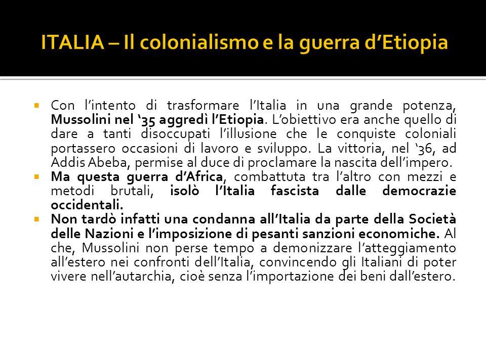 ITALIA – Il colonialismo e la guerra d'Etiopia