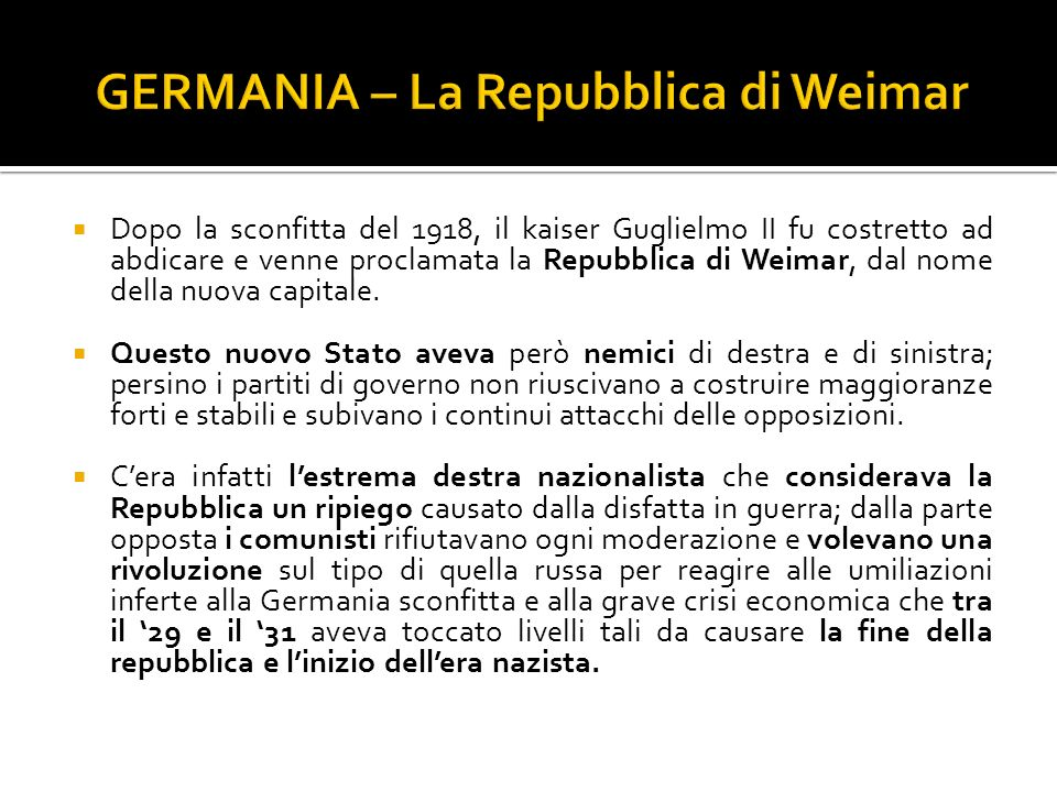 GERMANIA – La Repubblica di Weimar