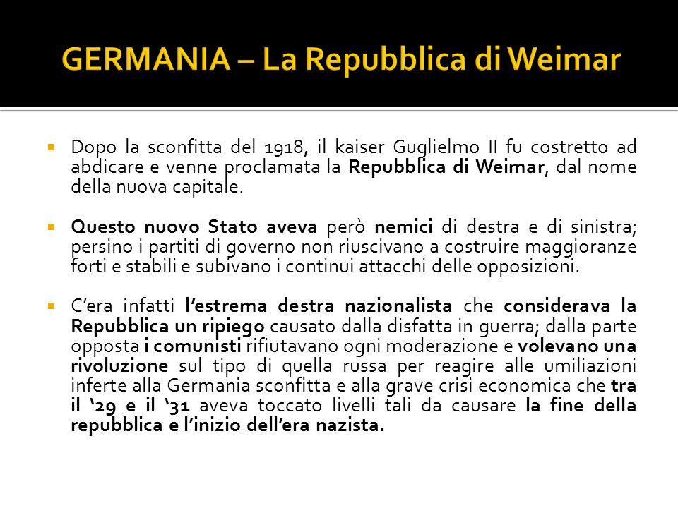 GERMANIA – La Repubblica di Weimar