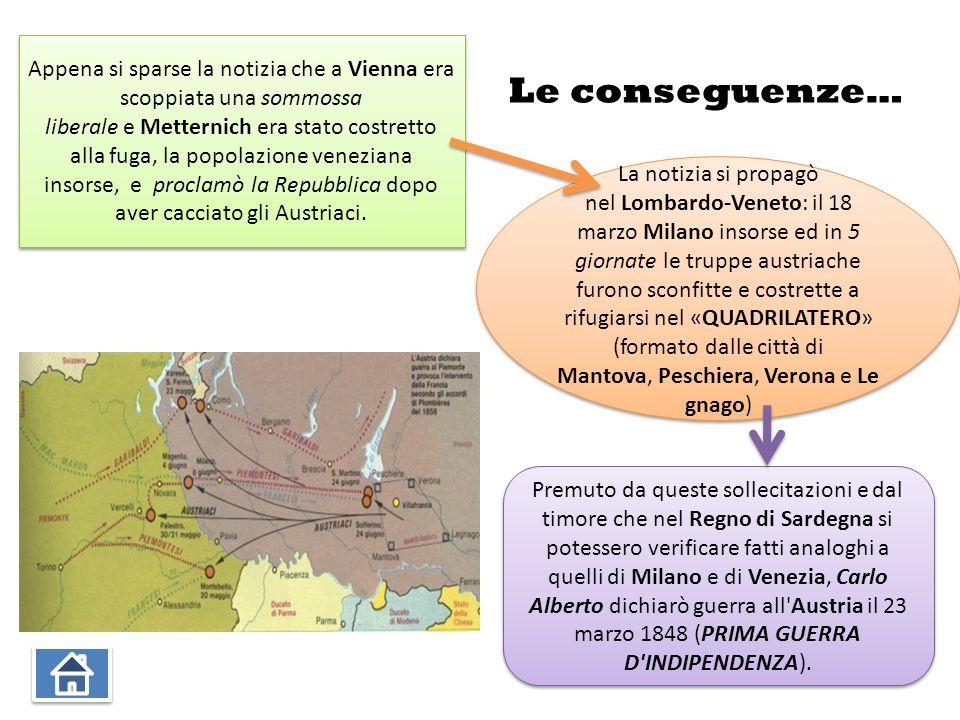 Appena si sparse la notizia che a Vienna era scoppiata una sommossa liberale e Metternich era stato costretto alla fuga, la popolazione veneziana insorse, e proclamò la Repubblica dopo aver cacciato gli Austriaci.