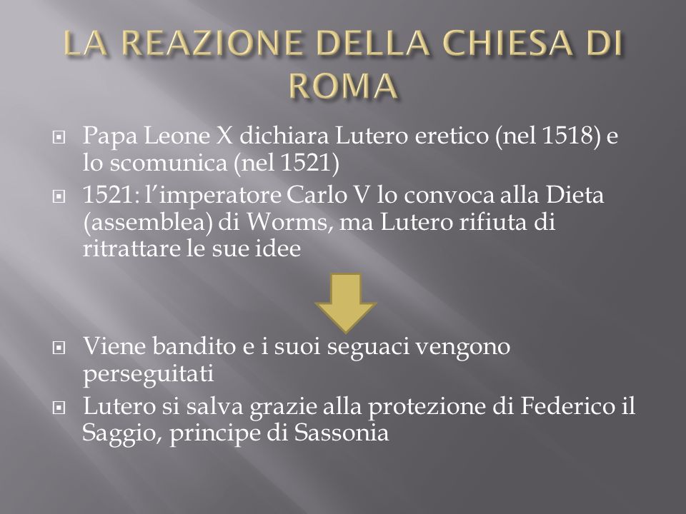 LA REAZIONE DELLA CHIESA DI ROMA