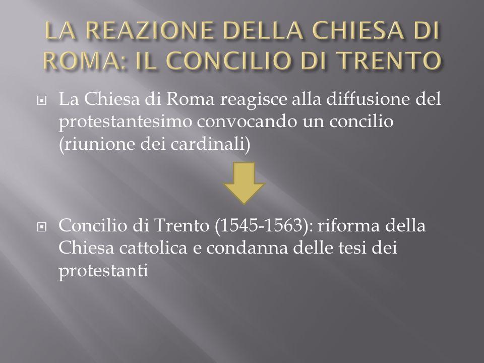 LA REAZIONE DELLA CHIESA DI ROMA: IL CONCILIO DI TRENTO